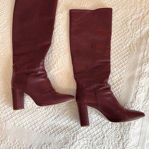 Zara leather high heeled boots